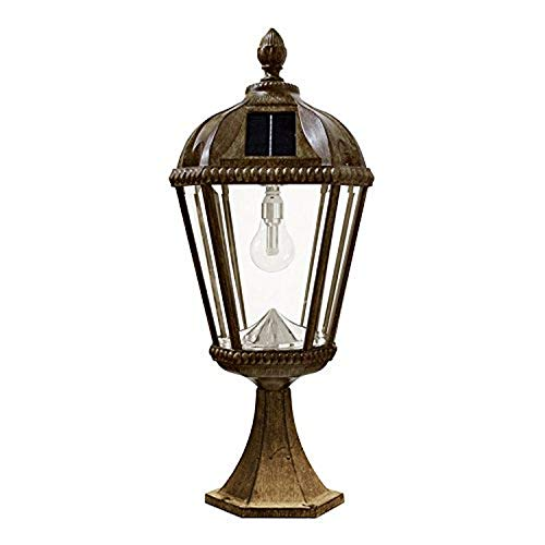 Gama Sonic GS-98B-P-WB Royal Bulb Pier Lamp Outdoor Solar Light Fixture, Flat Mount, Weathered Bronze