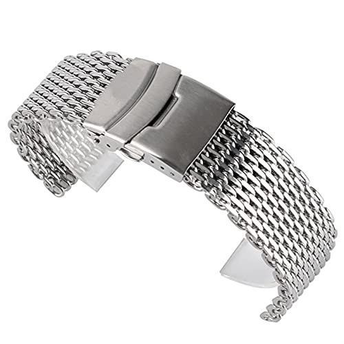 LCISCOUP Correa reloj 18 mm 20 mm 22 mm de malla de acero inoxidable de la banda de reloj para el reloj de la pulsera de la pulsera de la pulsera del reloj del reloj del reemplazo del botón del pulser