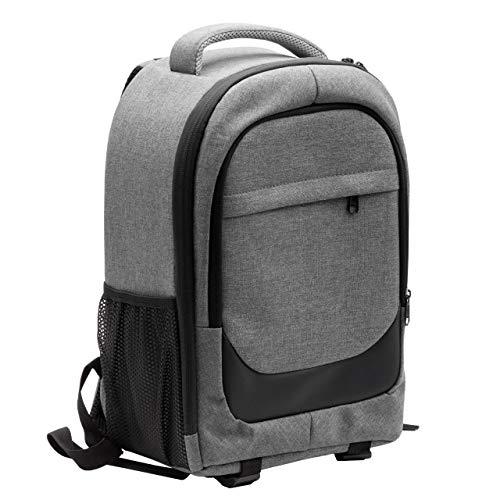 vhbw Kamera-Rucksack Canvas/weiches Innenfutter grau/schwarz passend für Canon EOS 2000D, 350D, 400D, 40D, 500D Kamera, Digitalkamera, DSLR