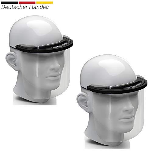 2X Premium Gesichtsschild Visier aus Kunststoff Schutzschild Gesicht Wiederverwendbarer Gesichtsschutzschild Spritzschutz Mund Nase Auge