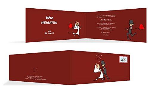 Hochzeitskarten: Hochzeitseinladung Comic Brautpaar, hochwertige Einladung zur Heirat inklusive Umschläge | 15 Karten (format: 215.00x105.00mm) color: Rot