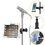 Moukey Mmsph-1 Supporto tablet cellulare per Auto/ Microfono Stand Porta con Rotazione a 360 Gradi per tablet iPad Smartphone come iPhone XR XS MAX X 8 7 Plus 6S Galaxy S9 Note LG V30