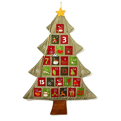 Calendario De Fieltro del Árbol De Navidad De Cuenta Regresiva para El Calendario De Navidad para Niños Decoración De Pared para El Hogar