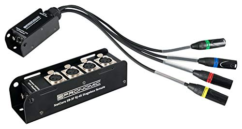 Pronomic NetCore SB-3F/SP-3M Set - Multicore-Lösung - Stagebox mit 4 XLR-Buchsen (female) - Peitsche mit 4 XLR-Steckern (male) - zur Übertragung analoger oder digitaler Signale über Netzwerkkabel