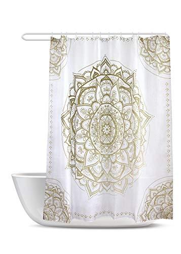 SUMGAR Mandala Art Duschvorhang Gold & Beige Blumenmuster Badezimmer Gardinen Indisch Boho Floral Geometrisch Modern Badvorhänge Polyester Wasserdicht mit 12 weißen Vorhangringen, 180 x 180 cm