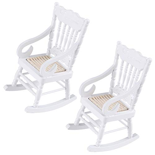 FADACAI 2 Pieces Mini Dollhouse Furniture, White Miniture Dollhouse Wooden Rocking Chairs, 1:12 Scale Dollhouse Accessories, for Doll House Decoration Dollhouse Accessories Furniture