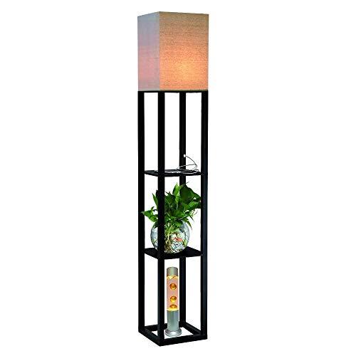 QIANGUANG® Indoor Lighting 1.6m Wood Floor Lamp with Shelves USB Charging Socket Phone for Bedroom Living Room(no Bulb) (Black)