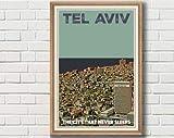 AZSTEEL Poster Tel Aviv Vintage Titled The City That Never