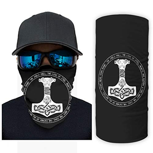 NA Vintage zwart Noordse Viking God Mjlnir Hammer Scandinavisch runen hoorn van Odin Keltisch knoop tatoeëren druk bandana gezichtsmasker zonbescherming Rave gezichtsmasker