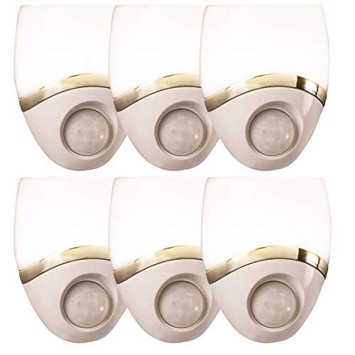 Amerelle Motion Sensor Night Light, 6 Pack – Plug In Motion Sensor Light Automatically Activated When Movement is Detected – LED Lights, Saves Energy, Wide Detection Zone – White Finish, 73092CC
