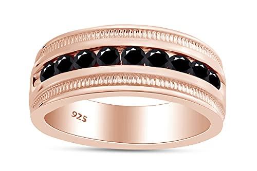 AFFY Anillo de compromiso para hombre con diamante negro mejorado de corte redondo de 18 quilates sobre plata de ley, Diamond,