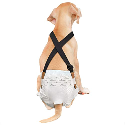 Paw Inspired Dog Diaper Suspenders | Dog Suspenders, Canine Suspenders | Dog Diaper Harness (M/L, Black)