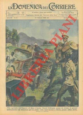 Il Duca d'Aosta, Vicere d'Etiopia, passa in rivisita le potenti moto-aratrici che dissodano per la prima volta terreni a Oletta, presso Addis Abeba.