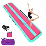 HIJOFUN Premium Air Inflatable Track 10ftx3.3ftx8in Gymnastics Tumbling Mat Inflatable Tumble Track with Electric Air Pump for Home Use/Gym/Yoga/Training/Cheerleading/Outdoor/Beach/Park Pink Green