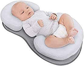 Baby Lounger Pillow, Adjustable Portable Newborn Nest Bed Mattress with Ultra Soft Breathable Cotton for Comfortable Sleep, Prevent Infants Flat Head Support Pillow - Grey