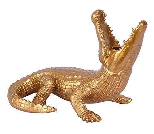 Kerzenleuchter Krokodil Gold Alligator Figur Kerzenständer Reptil Leuchter 30cm cw221 Palazzo Exklusiv