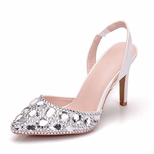 YIZHIYA Zapatos de Novia de Mujer,9CM Sandalias Puntiagudas de Cristal de Diamantes...