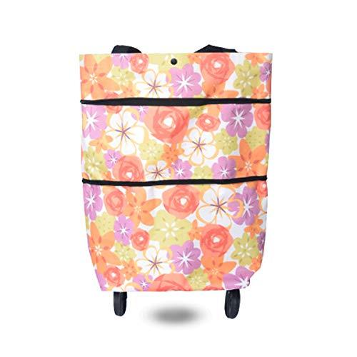 Runaup Faltbare Einkaufstasche, wiederverwendbar, leicht, Einkaufstrolley, Einkaufswagen mit Rädern 15.3