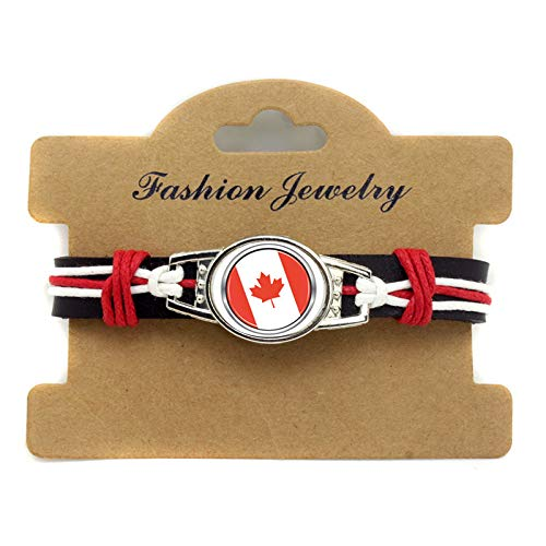 FJTHY Rindsleder Seil Gewebt Armband Kanada Fußball Fans Geschenk Junge,Kanada,Einheitsgröße