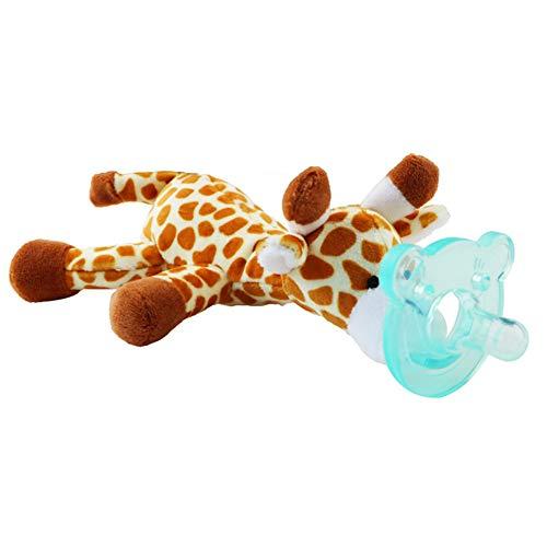mxdmai Spielzeug für Kinder mit Nippeln aus Silikon für Babys, Schnuller, Soothie-Halterung mit Plüschspielzeug - zufälliger Stil