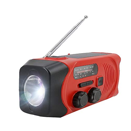 HLDUYIN AM/FM-Radioaufladung 3 Möglichkeiten: Sonnenenergie, Aufwickeln, USB-Dynamokurbelladekopfhöreranschluss Tragbar für den Notfall Perfekt für Camping, Wandern, Angeln, Outdoor,Rot