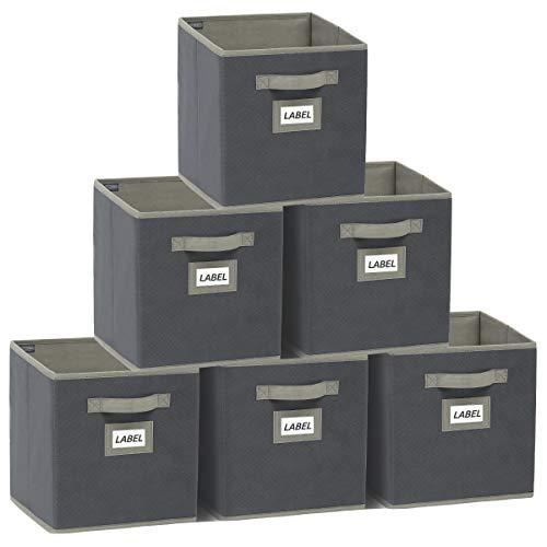 YOUDENOVA Aufbewahrungsbox 6er Pack mit Etikettenkarte Faltbox Aufbewahrungskiste Storage Boxes Ordnungsbox Faltbare Kisten 27x27x28 Grau B