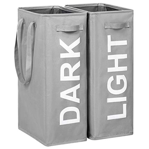WOWLIVE 2 Pack Tall Slim Laundry Hamper with Extended Handles 2Pcs/Set Lights and Darks Separator Thin Collapsible Laundry Basket Double Laundry Hamper Foldable Laundry Organizer (Grey)