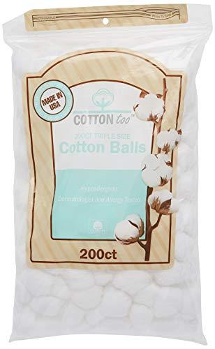 Cotton Too 200 Count Triple Size 100% Cotton Balls, 2 Pack