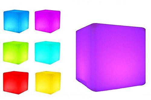 7even LED Design Cube 50/ LED Leucht-Sitzwürfel, Leuchttisch/In und Outdoor/Akku und Fernbedienung (IR), 50cm