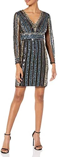 Adrianna Papell Women s Stripe Bead Sheath Dress Black Multi 12 product image