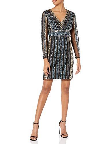 Adrianna Papell Women's Stripe Bead Sheath Dress, Black Multi, 16 (Apparel)