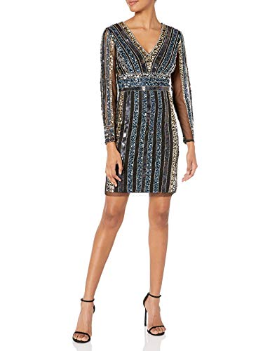 Adrianna Papell Women's Stripe Bead Sheath Dress, Black Multi, 6