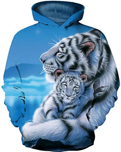 Ocean Plus Jungen Langarm Galaxis Kapuzenpullover Bunt Casual Sweatshirts Pullover mit Kapuzen Pulli für Kinder Hoodie (L (Körpergröße: 125-135cm), Weißer Tiger und weißes Tigerbaby)
