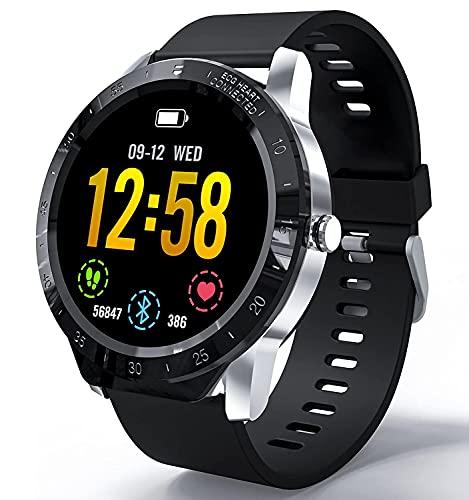HAOQIN SmartWatch Relojes Inteligentes Fitness Tracker HaoWatch VS1 1.3 Pantalla táctil Completa IP67 Impermeable con Monitor de frecuencia cardíaca Teléfonos compatibles con iPhone y Android Plata
