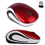 Lindo Mini 2.4 GHz ratón óptico inalámbrico ratón ordenador escritorio ergonómico Mute PC portátil Accesorios Notebook rojo