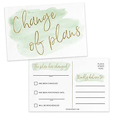 change of plans postcard