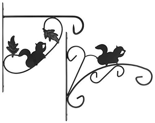 com-four 2X Decorazioni murali in Acciaio Verniciato a Polvere Come Supporto a Parete per cesti appesi (2 Pezzi - Scoiattolo)