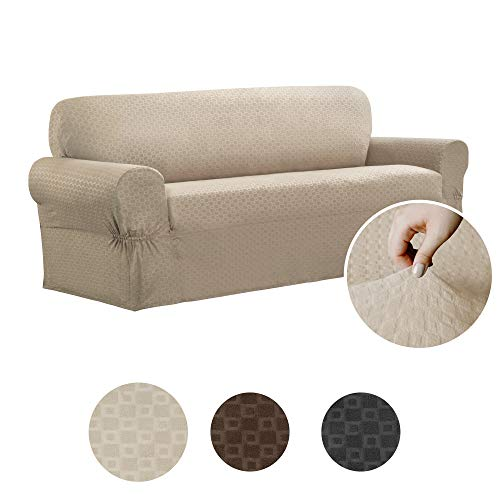 Maytex Conrad 1-Piece Sofa Furniture Cover / Slipcover, Sand