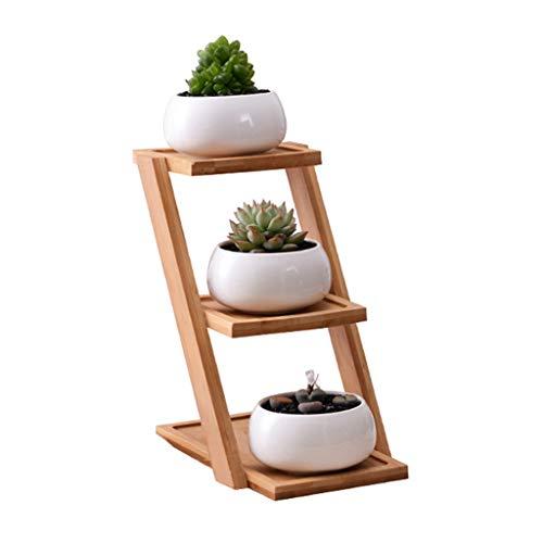 Kofun Pot de Fleurs Rond en céramique avec Support en Bambou