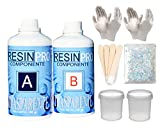 320 gr Resina epoxi transparente + set de utensilios- guantes, bastones de mezcla, vasos