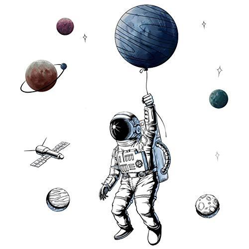 Wandtattoo,3D Astronaut Wandsticker als Wanddekoration für Schlafzimmer Wohnzimmer Kinderzimmer, Kunst DIY Wohnkultur Wandaufkleber Wandbilder Aufkleber Abziehbar Selbstklebend