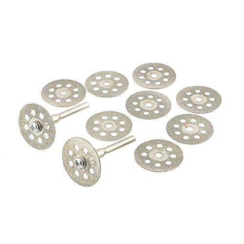 Haihuic 545 Disco de Corte de Diamante (22 mm) 10 Piezas con Mandril 402 (3 mm), para Herramienta rotativa Dremel, Discos de Corte de Vidrio con Piedras Preciosas