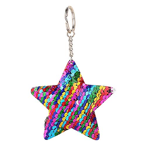 Nrpfell 1Pc Women Sequin Star Shape Key Chain Handbag Keyring Jewelry Sequins Keychain Bag Accessories For Gift Colorful