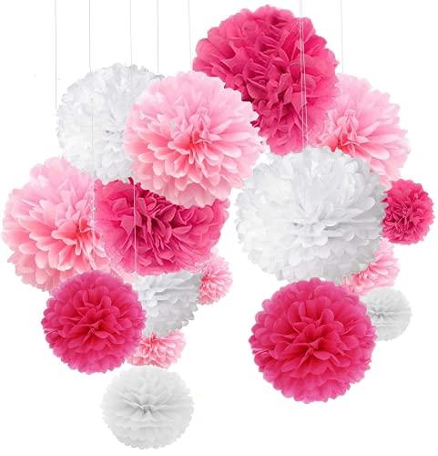 24 pompones de papel de seda rosa para decoración de bodas, pompones de papel de seda multicolor, bautizo, niña, cumpleaños, comunión, día de San Valentín, día de la madre, color blanco y rosa