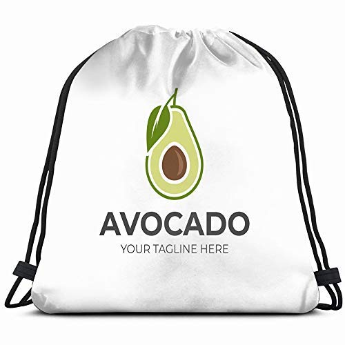 XCNGG Avocado Fruit Template Half Food And Drink Drawstring Backpack Sports Gym Bag For Women Men Children Large Size With Zipper And Water Bottle Mesh Pockets