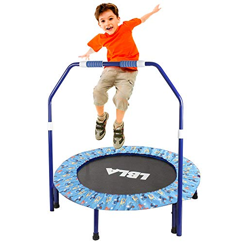36-Inch Kids Trampoline Little Trampoline with Adjustable Handrail and Safety Padded Cover Mini Foldable Bungee Rebounder Trampoline Indoor/Outdoor (Blue)