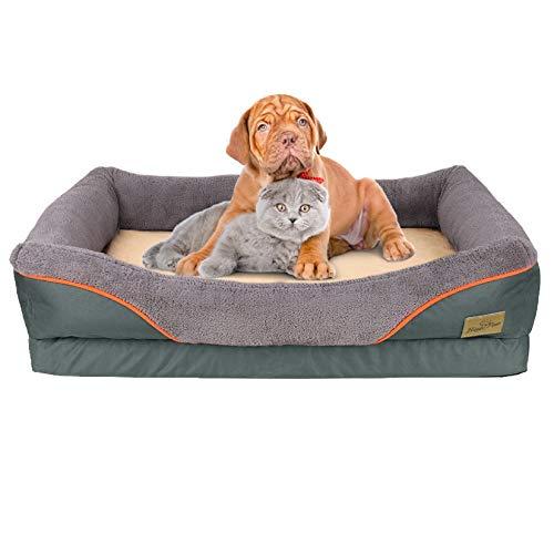 Bingopaw Cama de Espuma Viscoelástica para Perros 90 x 68 x 21cm Sofá Acolchada Suave y Cómoda para Mascotas con Funda Impermeable y Lavable
