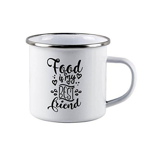 Food Is My Best Friend Enamel Camping Coffee Mugs Resusable & Portable Enamel Campfire Tin Mugs 10 oz Metal Enamel Drinking Mugs Cups Ideal for Home/Office/Travel/Camping