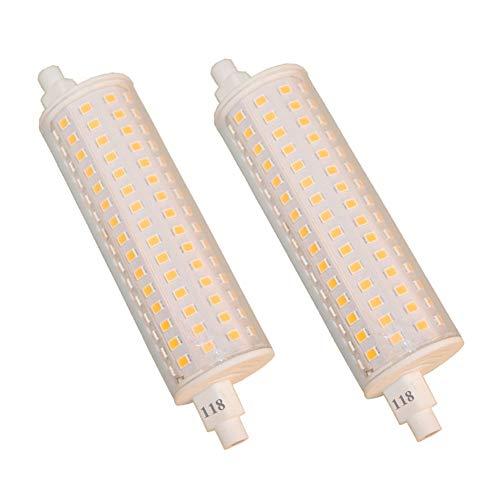150W Äquivalent R7S Liner LED Flutlicht Dimmbar 1500lm 2700K J118 Sicherheitslampe 118mm lang Doppelend R7S Basis 230V Warmweiß, 2er Pack