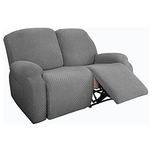Zoeay 2-Sitzer Jacquard Stretch Ruhesessel Bezug,Antirutsch Sofabezug Liege Abdeckung Für Ruhesessel Sessel,dick, weich, waschbar Möbelbezug((6 Stück)-Hellgrau